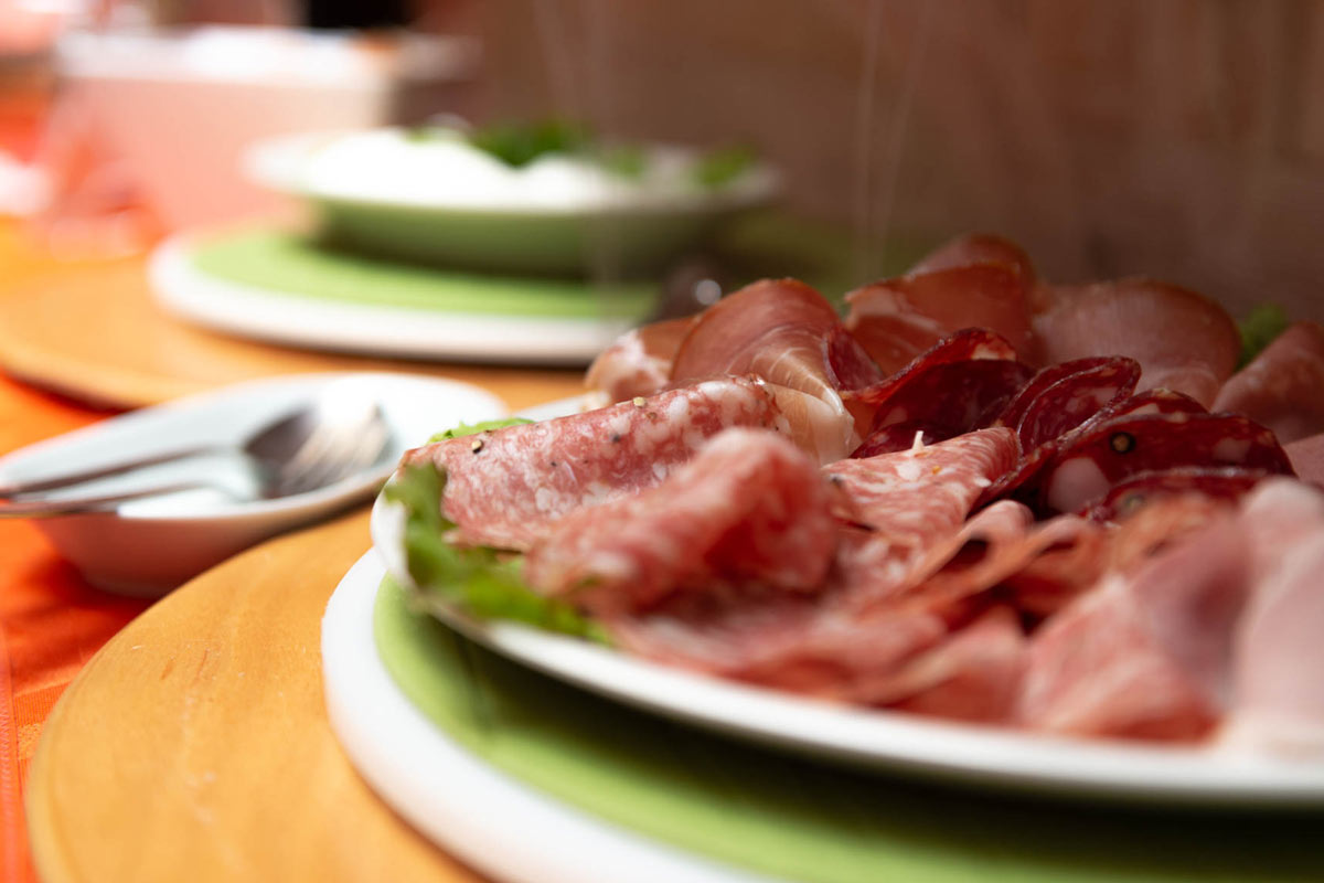 Cold cuts breakfast at Tenuta Il Cicalino in Tuscany